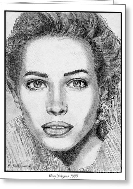 Catwalk Drawings Greeting Cards - Christy Turlington in 1990 Greeting Card by J McCombie