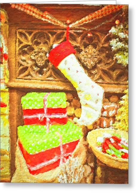 Christmas Art Greeting Cards - Chritmas stocking Greeting Card by Tom Gowanlock