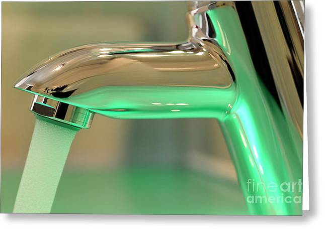 Domestic Bathroom Greeting Cards - Chrome sink tap with running water Greeting Card by Sami Sarkis