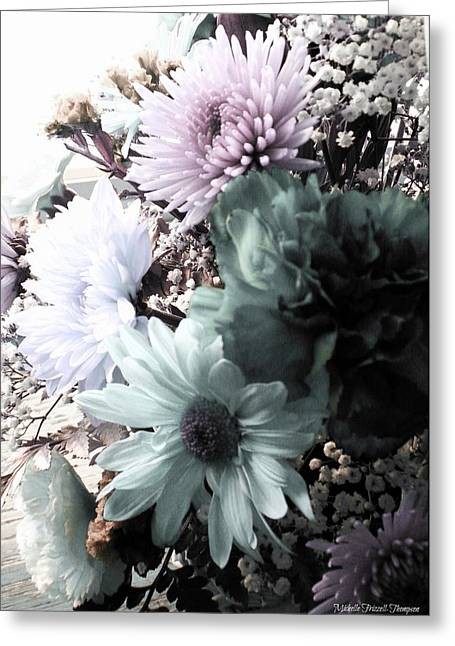 Babys Breaths Greeting Cards - Chrysanthemum Bouquet Greeting Card by Michelle Frizzell-Thompson
