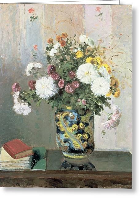 Interior Still Life Paintings Greeting Cards - Chrysanthemums in a Chinese Vase Greeting Card by Camille Pissarro