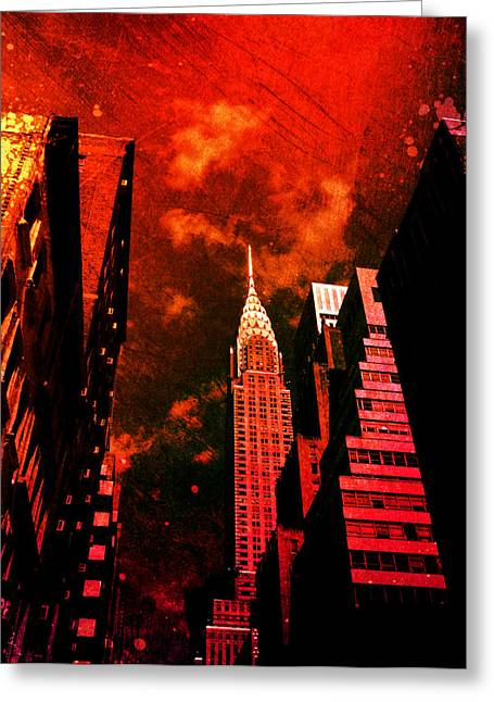 Dystopian Greeting Cards - Chrysler Building - New York City Surreal Greeting Card by Vivienne Gucwa