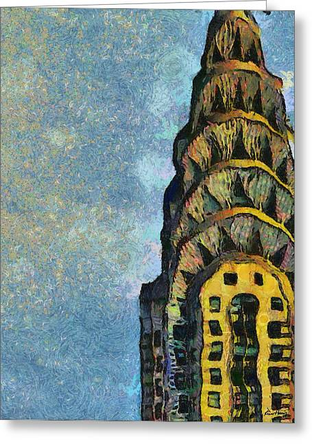 Red Buildings Pastels Greeting Cards - Chrysler Building New York Greeting Card by Russ Harris