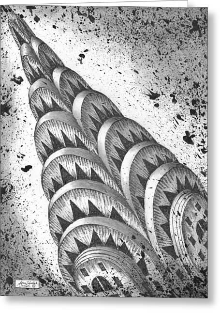 Urban Buildings Drawings Greeting Cards - Chrysler Spire Greeting Card by Adam Zebediah Joseph