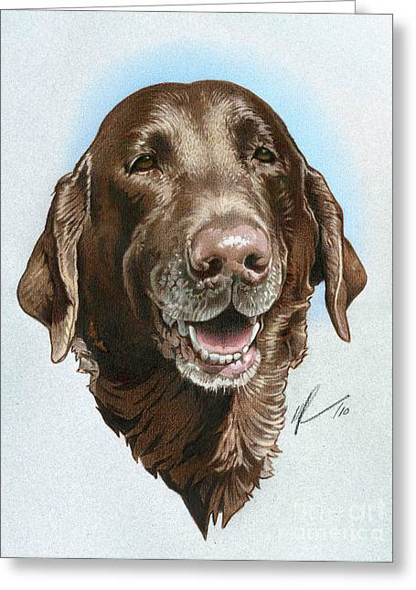 Old Labrador Greeting Cards - Chubbs Greeting Card by Marshall Robinson