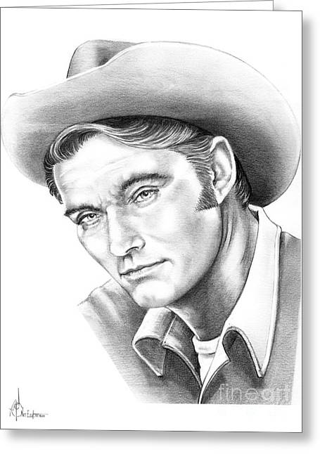 Cowboy Pencil Drawings Greeting Cards - Chuck Conners-Rifleman Greeting Card by Murphy Elliott