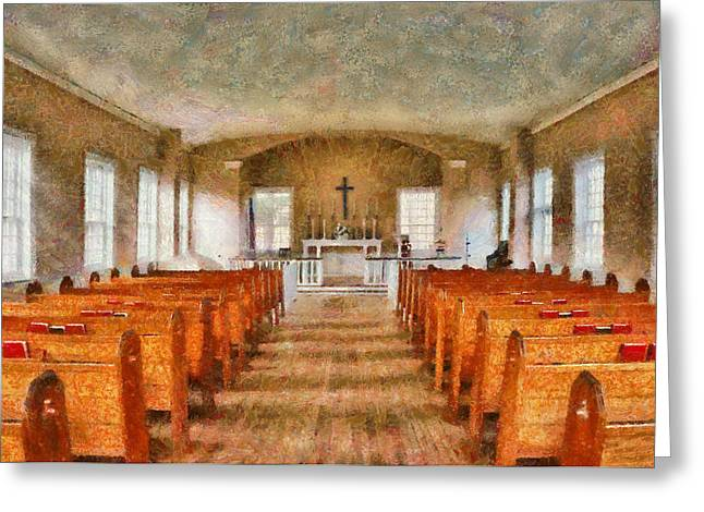 Lessons Greeting Cards - Church - Inside a church Greeting Card by Mike Savad