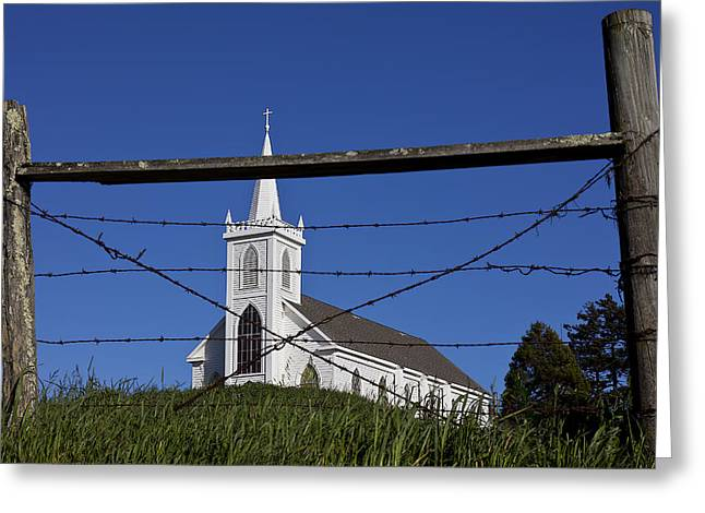 Teresa Greeting Cards - Church And Barbed Wire Greeting Card by Garry Gay