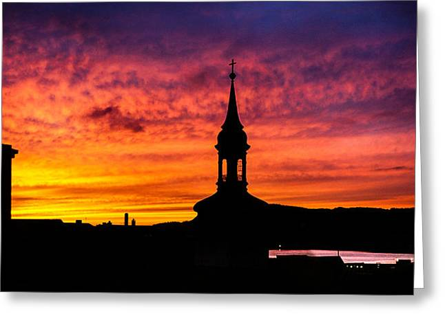 Lightscapes Greeting Cards - Church and Chimney Greeting Card by Hakon Soreide