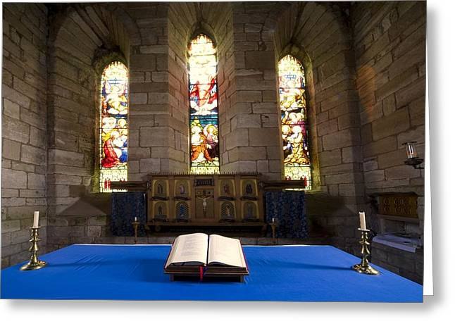 Literate Greeting Cards - Church And Open Bible, Holy Island Greeting Card by John Short