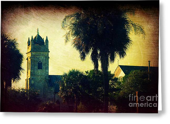 Palmetto Trees Greeting Cards - Church at Fort Moultrie near Charleston SC Greeting Card by Susanne Van Hulst