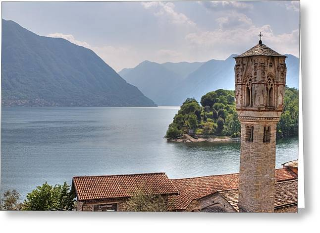 Romanesque Greeting Cards - church at the Lake Como Greeting Card by Joana Kruse