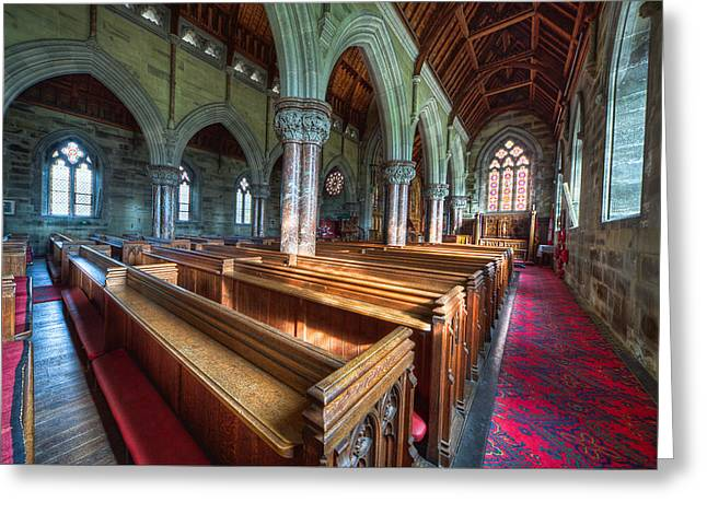 Stained Glass Windows Greeting Cards - Church Benches Greeting Card by Adrian Evans
