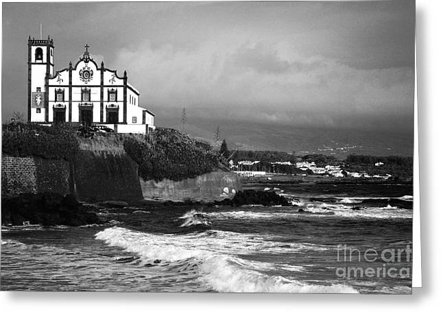 Buildings By The Sea Photographs Greeting Cards - Church by the sea Greeting Card by Gaspar Avila
