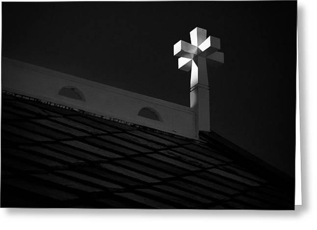 Church Cross Greeting Card by Dave Bowman