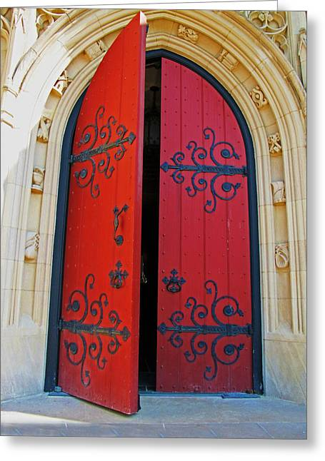 Greeting Card featuring the photograph Church Door by Rodney Campbell
