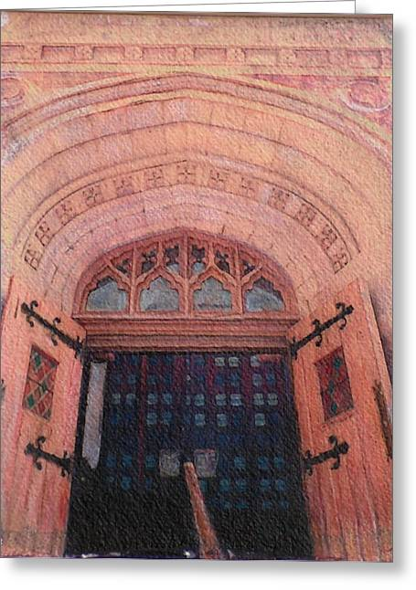 Prisma Colored Pencil Greeting Cards - Church Doors Greeting Card by Kenny King