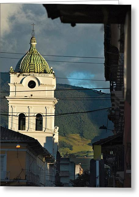 church in the city of Pasto. Republic of Colombia. Greeting Card by Eric Bauer