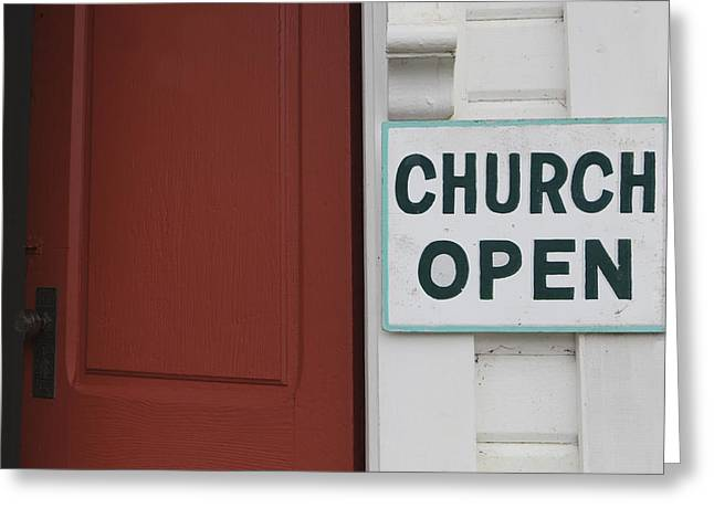 Protestantism Greeting Cards - Church Is Open Sign. Oysterville Greeting Card by Douglas Orton