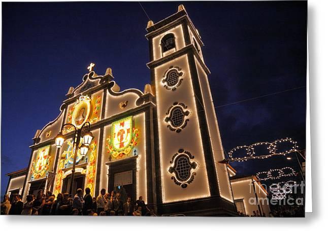 Night Scenes Greeting Cards - Church lighting at night Greeting Card by Gaspar Avila