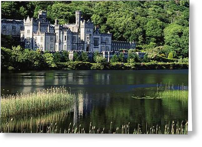 Monasticism Greeting Cards - Church Near A Lake, Kylemore Abbey Greeting Card by The Irish Image Collection