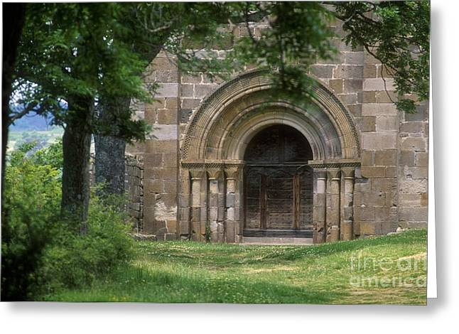 Art Roman Greeting Cards - Church of Bredons.Cantal. France Greeting Card by Bernard Jaubert