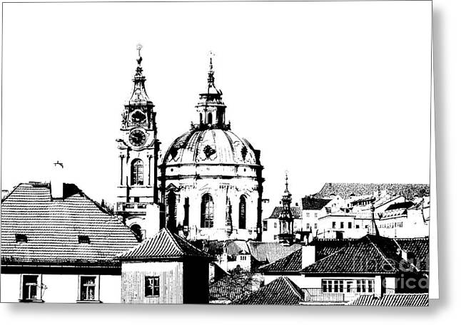 Townscape Digital Art Greeting Cards - Church of St Nikolas Greeting Card by Michal Boubin