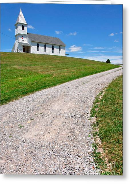 Allegheny Greeting Cards - Church on a Hill Greeting Card by Thomas R Fletcher