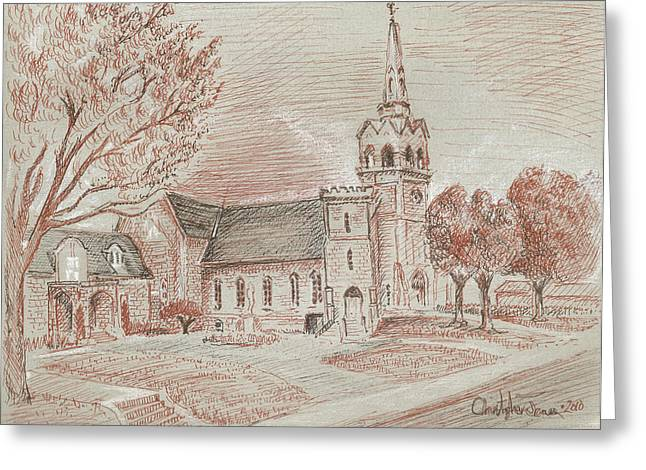 Steeple Mixed Media Greeting Cards - Church on St. Josephs Blvd Greeting Card by Christopher James