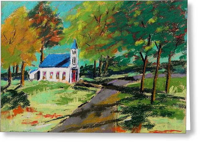 New England. Pastels Greeting Cards - Church on the Bend landscape Greeting Card by John  Williams