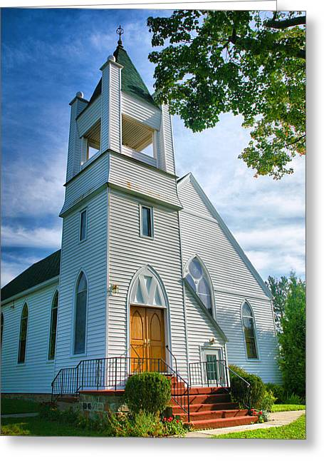 Keuka Greeting Cards - Church on the Bluff II Greeting Card by Steven Ainsworth