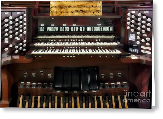 Consoling Photographs Greeting Cards - Church Pipe Organ Greeting Card by Susan Candelario