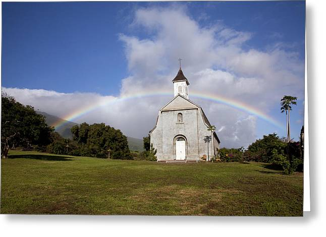 Saint Joseph Greeting Cards - Church Rainbow Greeting Card by Jenna Szerlag
