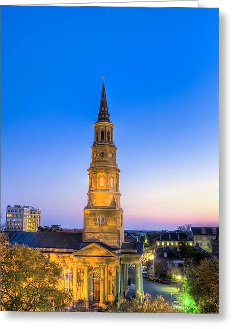 Church Street Greeting Cards - Church St. Dusk  Greeting Card by Drew Castelhano