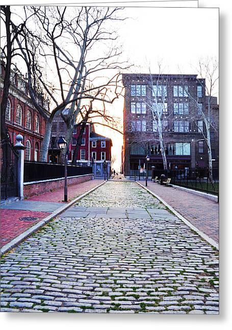 Church Street Greeting Cards - Church Street Cobblestones - Philadelphia Greeting Card by Bill Cannon