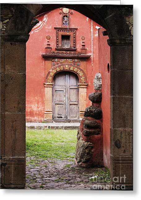 San Miguel De Allende Greeting Cards - Church Through Archway Greeting Card by Jeremy Woodhouse