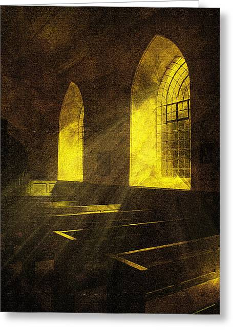 Chimes Greeting Cards - Church Window Light Greeting Card by Svetlana Sewell