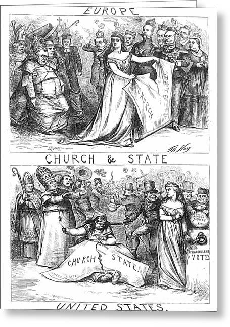 Anti-discrimination Photographs Greeting Cards - Church/state Cartoon, 1870 Greeting Card by Granger