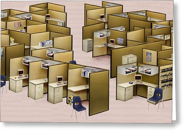 Cubicle Greeting Cards - Churn decluttered Greeting Card by Simon Currell