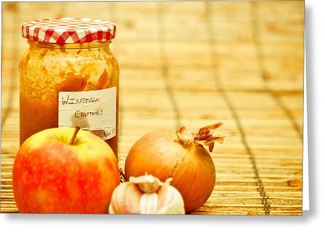 Label Photographs Greeting Cards - Chutney Greeting Card by Tom Gowanlock