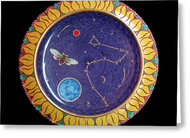 Decoration Ceramics Greeting Cards - Cicada and the Dragon or the Universe in a sunflower. Greeting Card by Vladimir Shipelyov