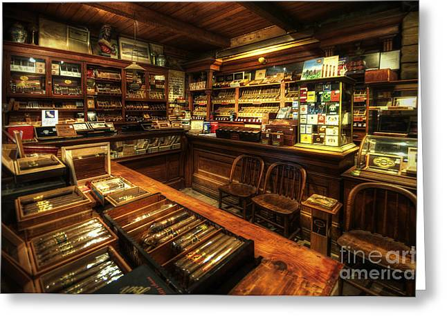 Cigar Shop Greeting Card by Yhun Suarez