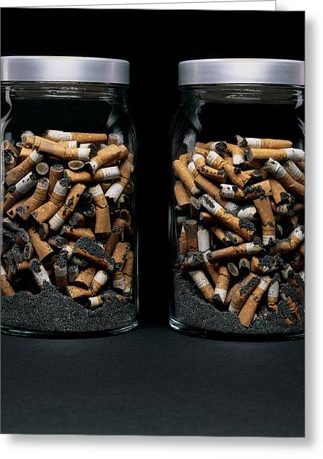 Carcinogenic Greeting Cards - Cigarette Butts And Ash Greeting Card by Kevin Curtis