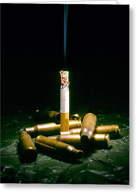 Carcinogenic Greeting Cards - Cigarette Deaths, Conceptual Image Greeting Card by Richard Kail