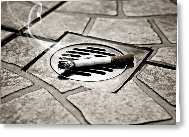Drain Greeting Cards - Cigarette Greeting Card by Joana Kruse