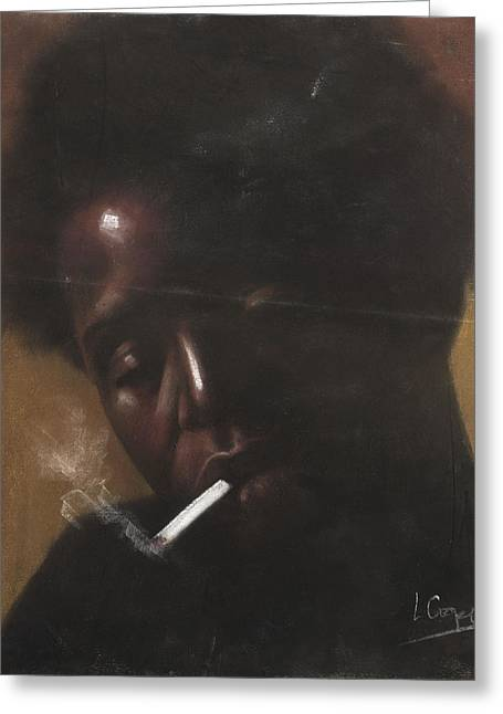 Black Man Pastels Greeting Cards - Cigarette Smoker Greeting Card by L Cooper