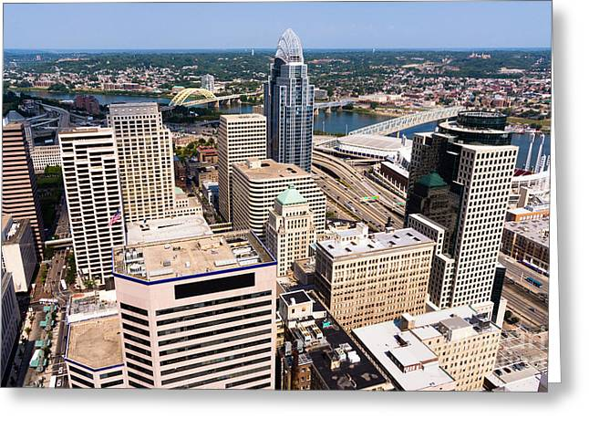 Cincinnati Aerial Skyline 2012 Greeting Card by Paul Velgos