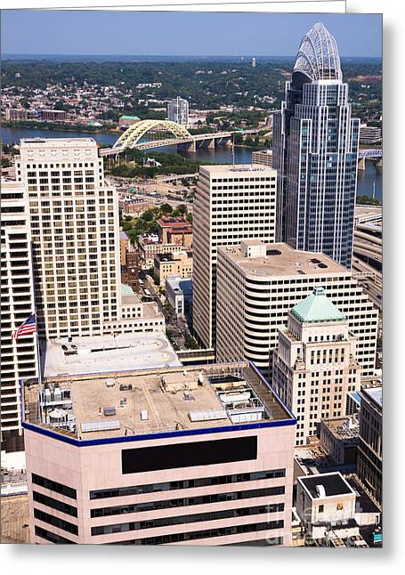Cincinnati Aerial Skyline Downtown City Buildings Greeting Card by Paul Velgos