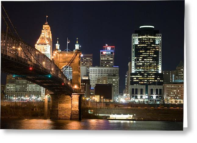 Cincinnati Skyline Greeting Cards - Cincinnati at Dusk Greeting Card by Russell Todd
