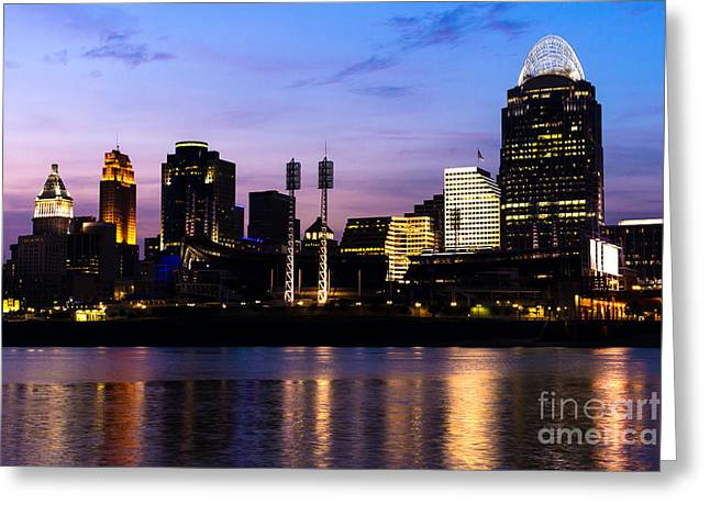 Cincinnati At Night Downtown City Skyline Greeting Card by Paul Velgos